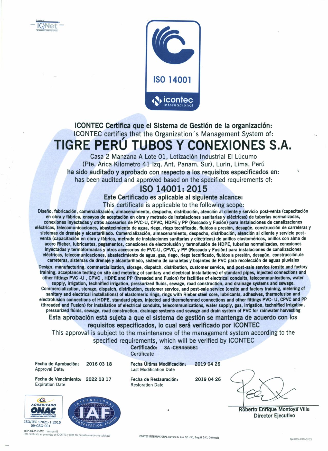 Certificado ISO14001