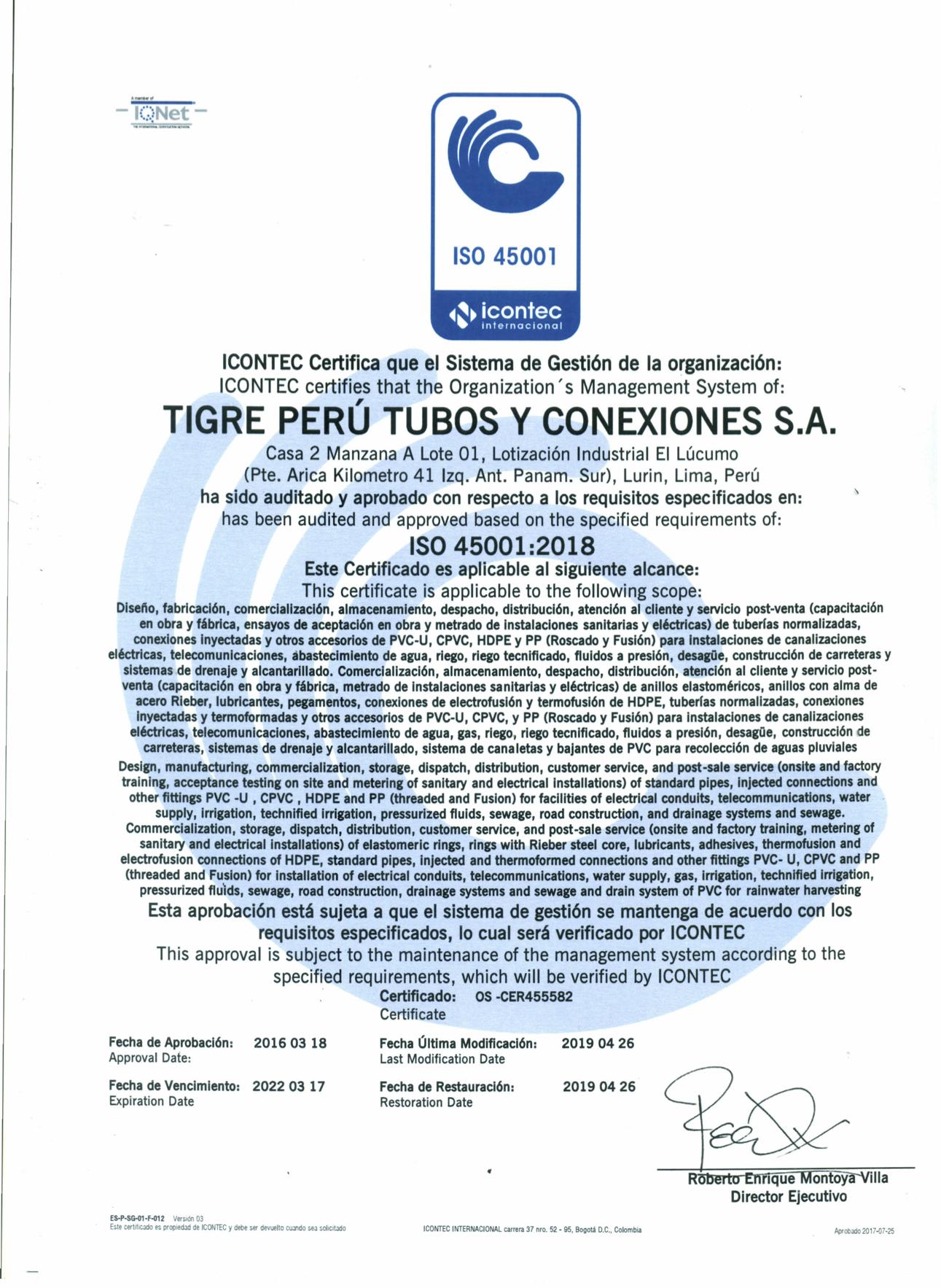 Certificado ISO45001