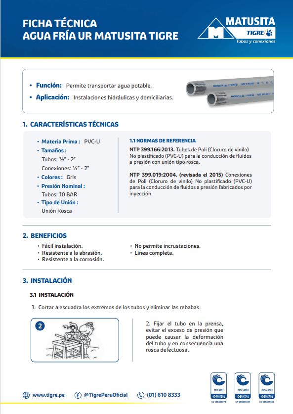 Ficha Técnica Agua Fría UR Matusia