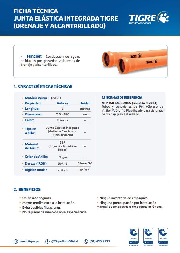 Ficha técnica Junta Elástica Integrada (Drenaje y Alcantarillado)