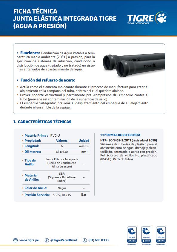 Ficha técnica Junta Elástica Integrada
