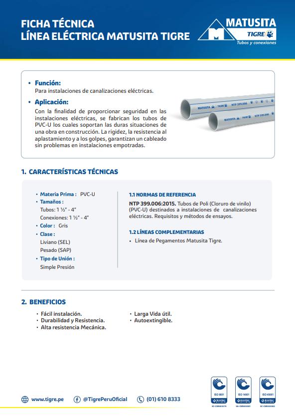 Ficha técnica eléctrica Matusita