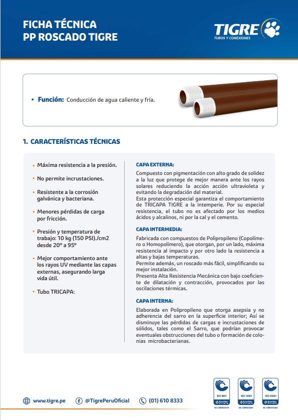 Ficha técnica PP Roscado