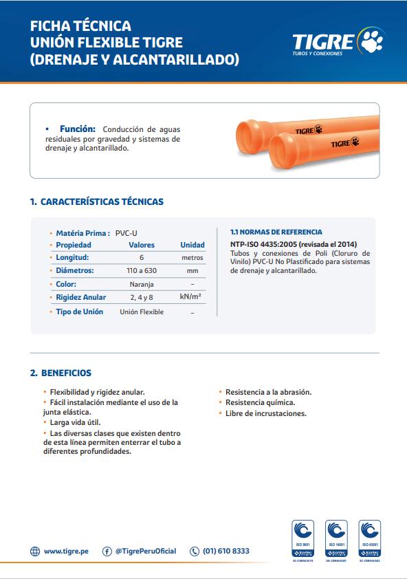 Ficha técnica Unión Flexible